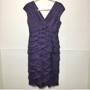 Adrianna Papell Layer Tiered Shutter Pleat Dress